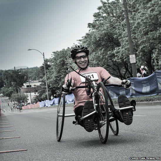 A wheelchair competitor in the Vermont City Marathon