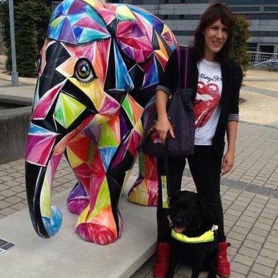 Maya Makri with her guide dog Jemma