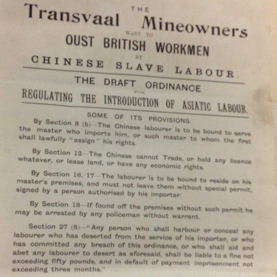 Miners opposed to Chinese slave labour