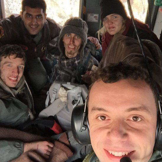 David Mackie (left) with Friso de Vries(middle) and Marije de Groot (right) and Turkish rescue crew