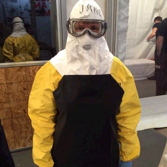 Jane Wakefield in protective suit