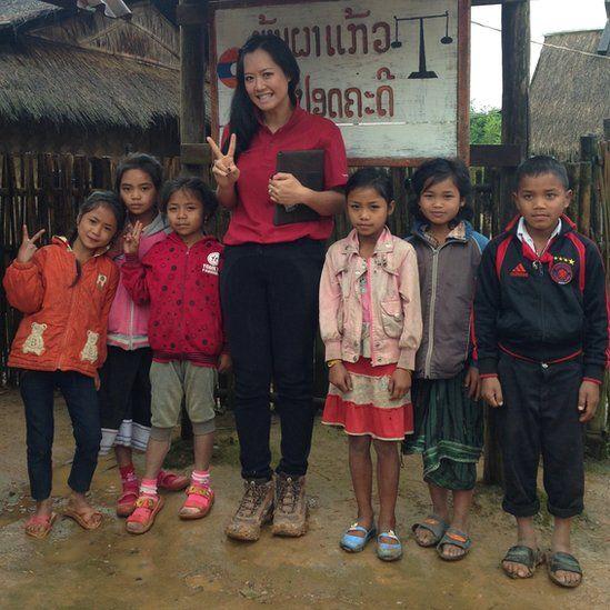 Amy in Laos with school children
