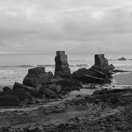 Old harbour wall ruins near Kirkcaldy, Fife