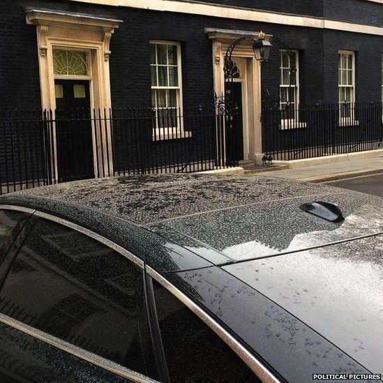 Pollution dust on David Cameron's car