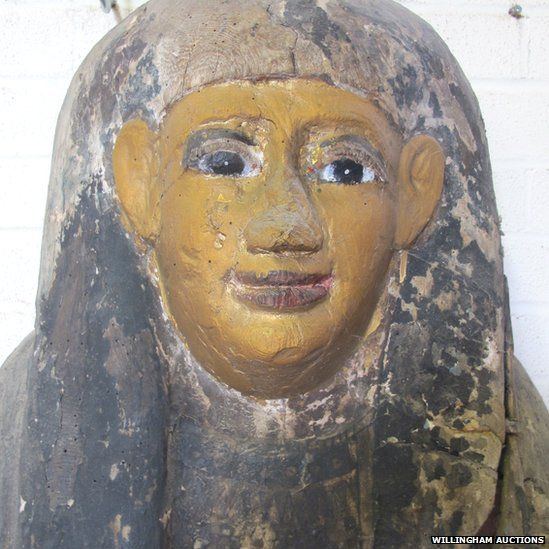 Partial Egyptian sarcophagus