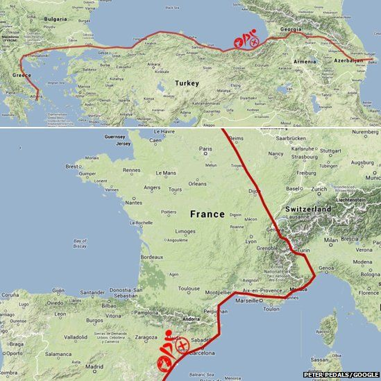 Route of part of bicycle journey