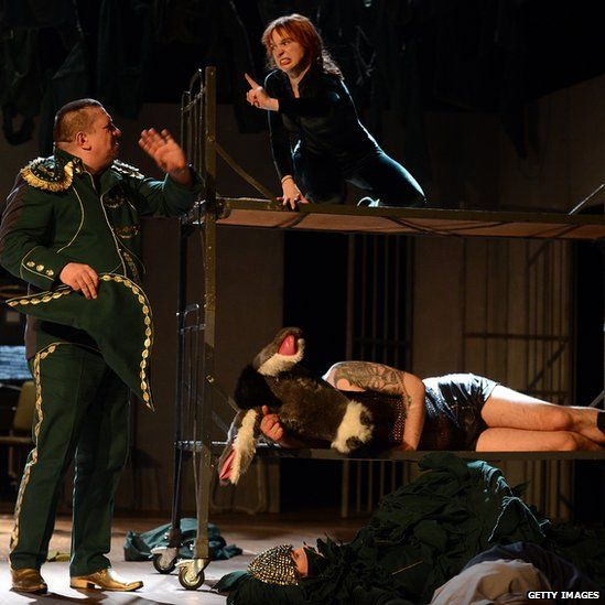 Polish inmates perform Shakespeare's 'A Midsummer Night's Dream' at the Polish Theatre in Warsaw on 6 April 2013.