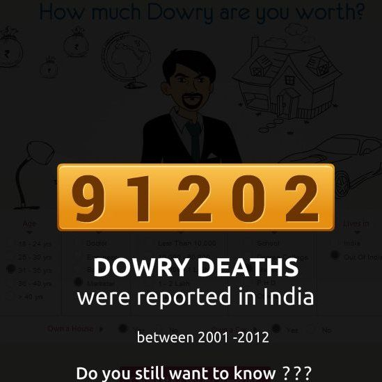 Instead of the dowry amount, the quiz gives the number of dowry deaths in India