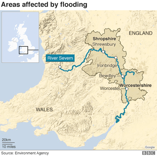 Map of flooding