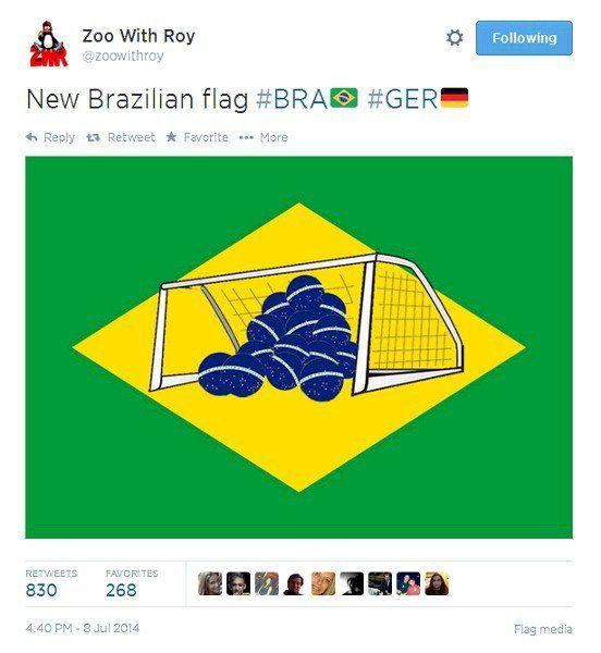 Tweet showing mocked-up Brazilian flag