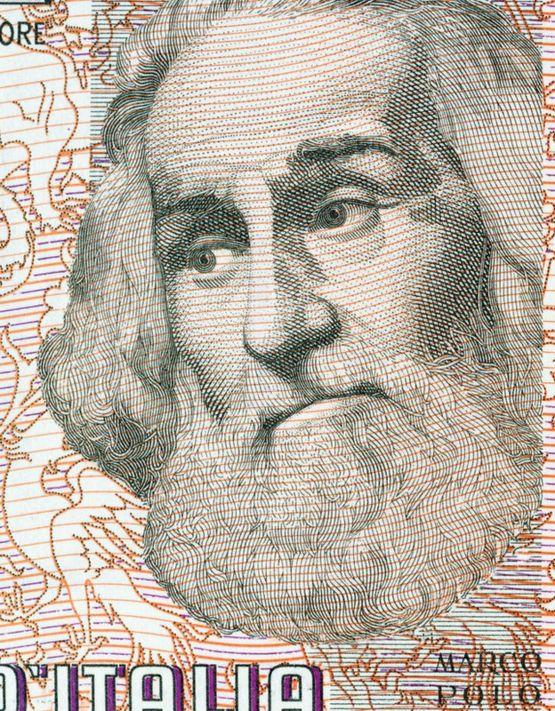 Marco Polo em nota de lira