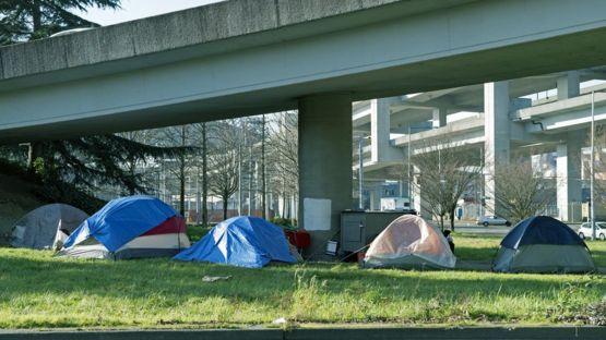 Personas sin techo en Seattle.