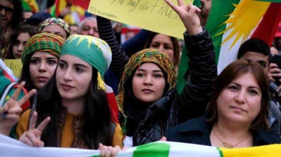 Акция против турецкой операции прошла в субботу в Берлине