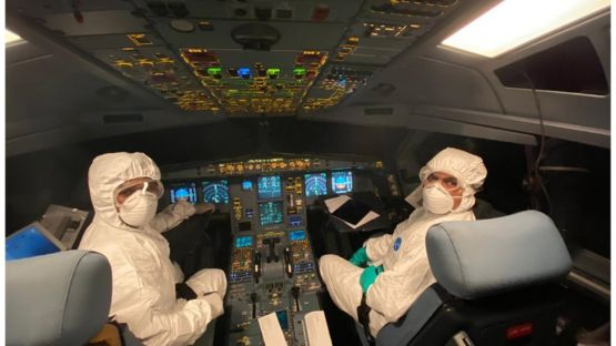 the crew members of a SriLankan Airlines Airbus A330 wearing full protective suits and masks during a humanitarian operation to evacuate Sri Lankans from Wuhan