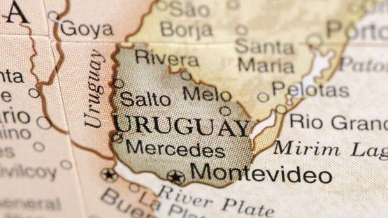 Mapa donde se ve Uruguay.