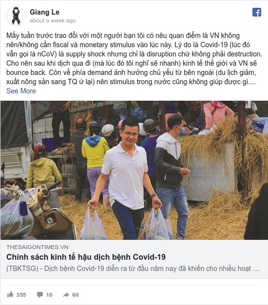 Facebook bởi Giang: Mấy tuần trước trao đổi với một người bạn tôi có nêu quan điểm là VN không nên/không cần fiscal và monetary stimulus vào...