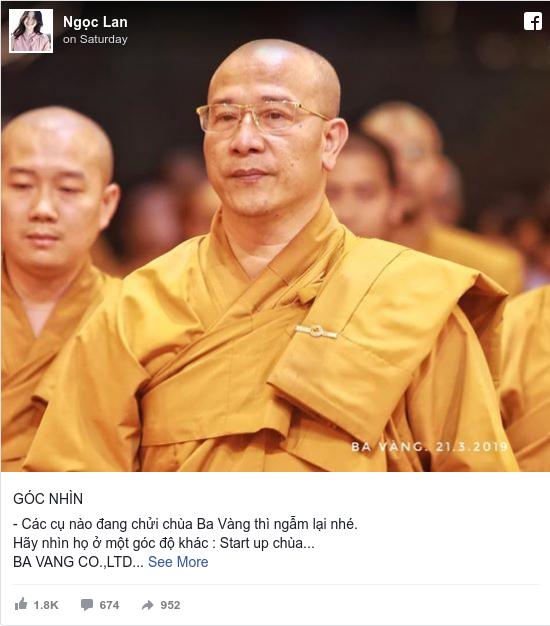 Facebook bởi Lan: GÓC NHÌN   - Các cụ nào đang chửi chùa Ba Vàng thì ngẫm lại nhé. Hãy nhìn họ ở một góc độ khác   Start up chùa... BA...