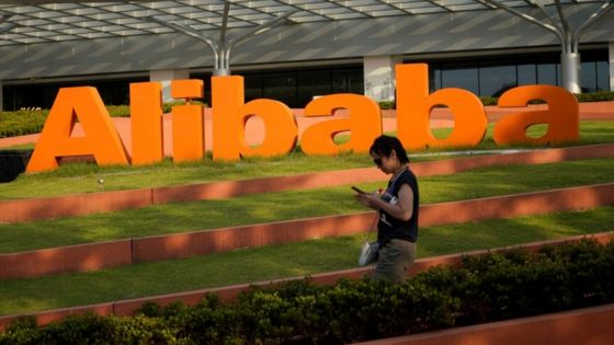 Alibaba's logo at the company's headquarters in Hangzhou, Zhejiang province.