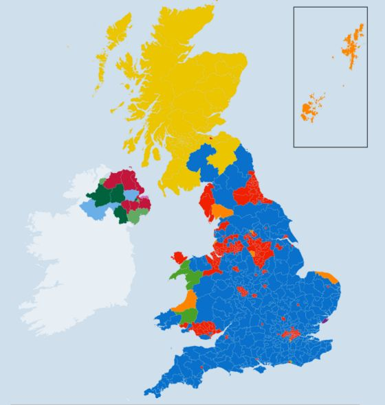 Election 2015 Maps of turnout and party strength BBC News – 2015 Uk Election Map
