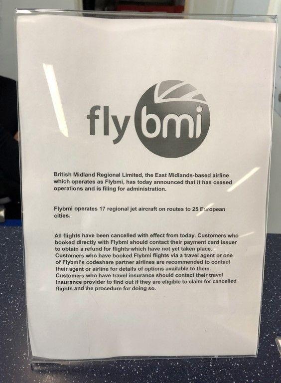 BMI notice at Bristol airport