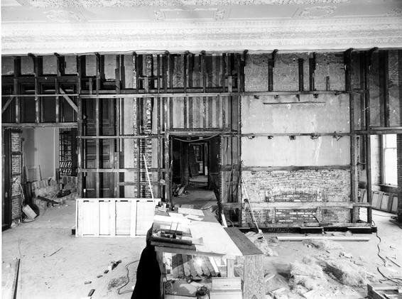 The east wall of the State Dining Room of the White House, showing design on upper wall dating from 1902.