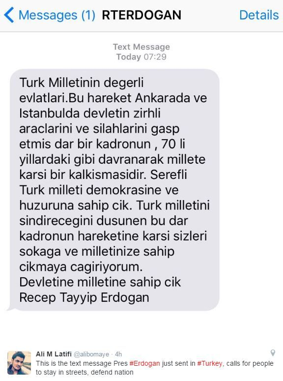An LA Times reporter was among those who tweeted the text from Mr Erdogan
