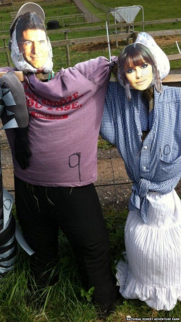 Some scarecrows have the faces celebrities including one of music mogul Simon Cowell and another of Girls Aloud star Cheryl Cole