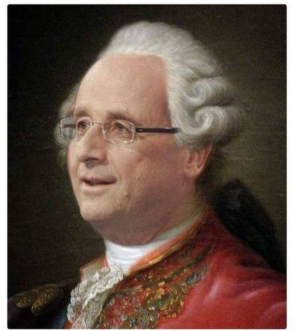 Hollande in an 18th century wig