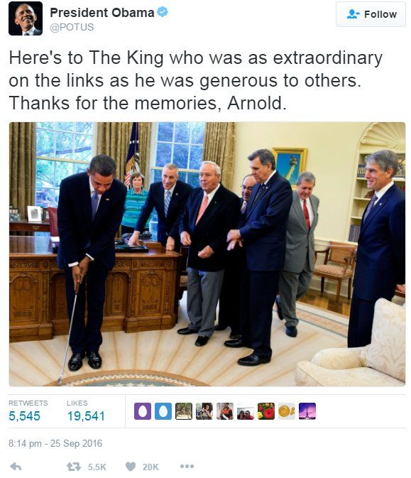 """Tweet from Barack Obama reading: """"Here's to The King who was as extraordinary on the links as he was generous to others. Thanks for the memories, Arnold."""""""