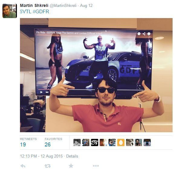 Martin Shkreli, seen here in an August Twitter post, had aggressively answered critics