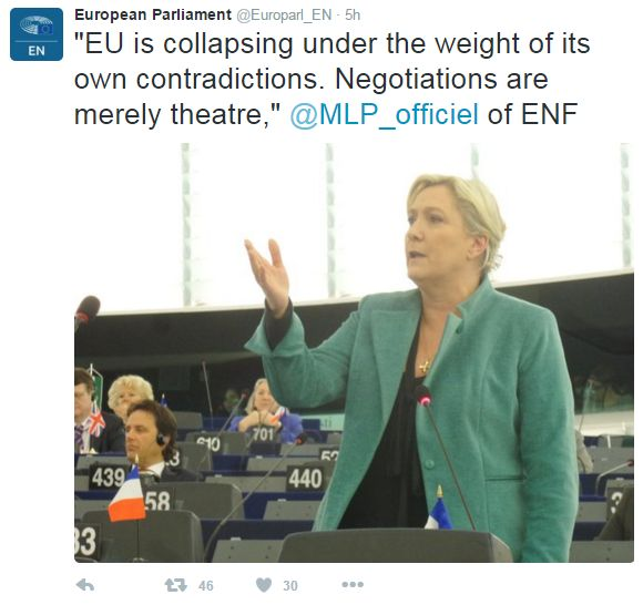 """Tweet: """"EU is collapsing under the weight of its own contradictions. Negotiations are merely theatre"""" says French MEP Marine Le Pen"""
