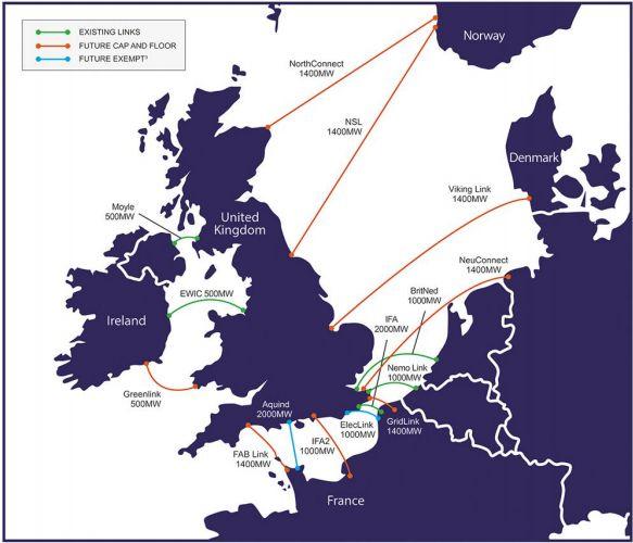UK Interconnector map