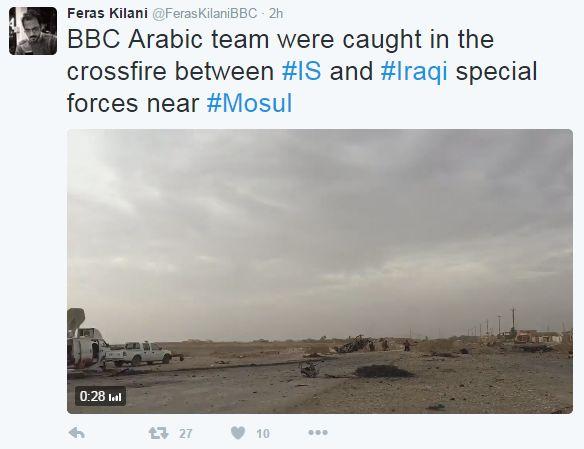 Tweet from Feras Kilani says BBC Arabic team caught in crossfire