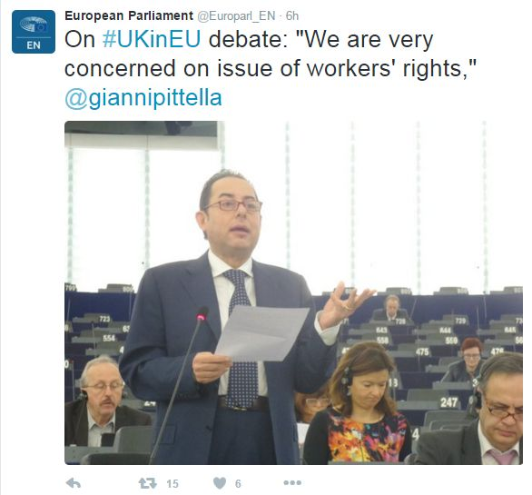 """Tweet: On #UKinEU debate: """"We are very concerned on the issue of workers' rights,"""" says Gianni Pittella"""