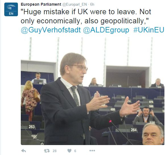 """Tweet: """"Huge mistake if UK were to leave. Not only economically, also geopolitically,"""" says Guy Verhofstadt"""