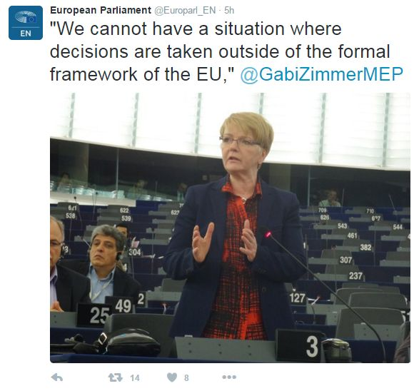 """Tweet: """"We cannot have a situation where decisions are taken outside of the formal framework of the EU"""", says @GabiZimmerMEP"""