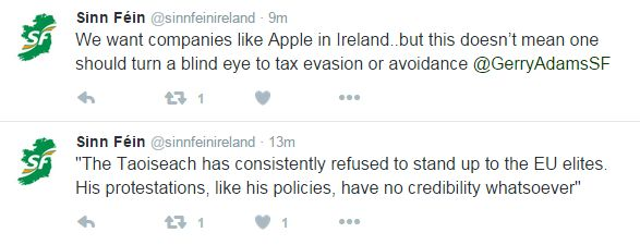 """Tweets from Sinn Fein's account on 7 Sept. """"We want companies like Apple in Ireland, but this doesn't mean one should turn a blind eye to tax evasion"""""""