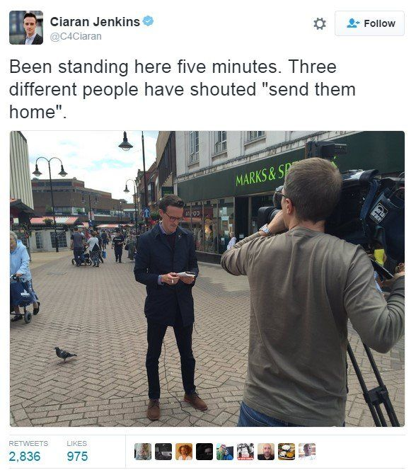 """Tweet: Been standing here five minutes. Three different people have shouted """"send them home""""."""