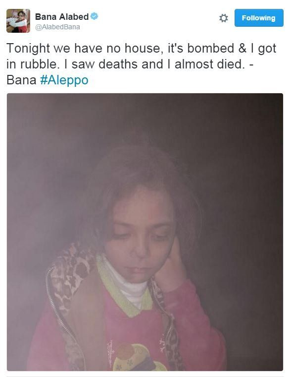 Bana Alabed tweets: Tonight we have no house, it's bombed & I got in rubble. I saw deaths and I almost died. - Bana #Aleppo