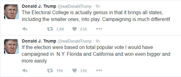 Donald Trump tweets: The Electoral College is actually genius in that it brings all states, including the smaller ones, into play. Campaigning is much different! If the election were based on total popular vote I would have campaigned in N.Y. Florida and California and won even bigger and more easily