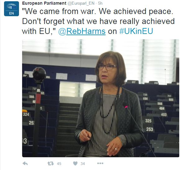"""Tweet: """"We came from war. We achieved peace. Don't forget what we have really achieved with EU,"""" says German MEP Rebecca Harms"""