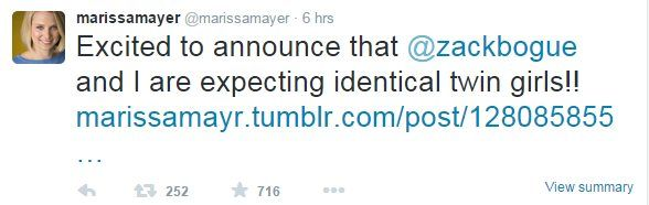 """Marissa Mayer tweet: """"Excited to announce that @zackbogue and I are expecting identical twin girls!!"""