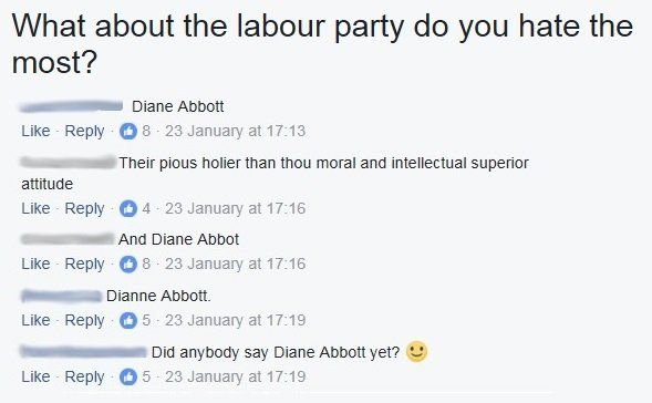 "Group members answer ""Diane Abbott"" when asked what they hate about the Labour Party"