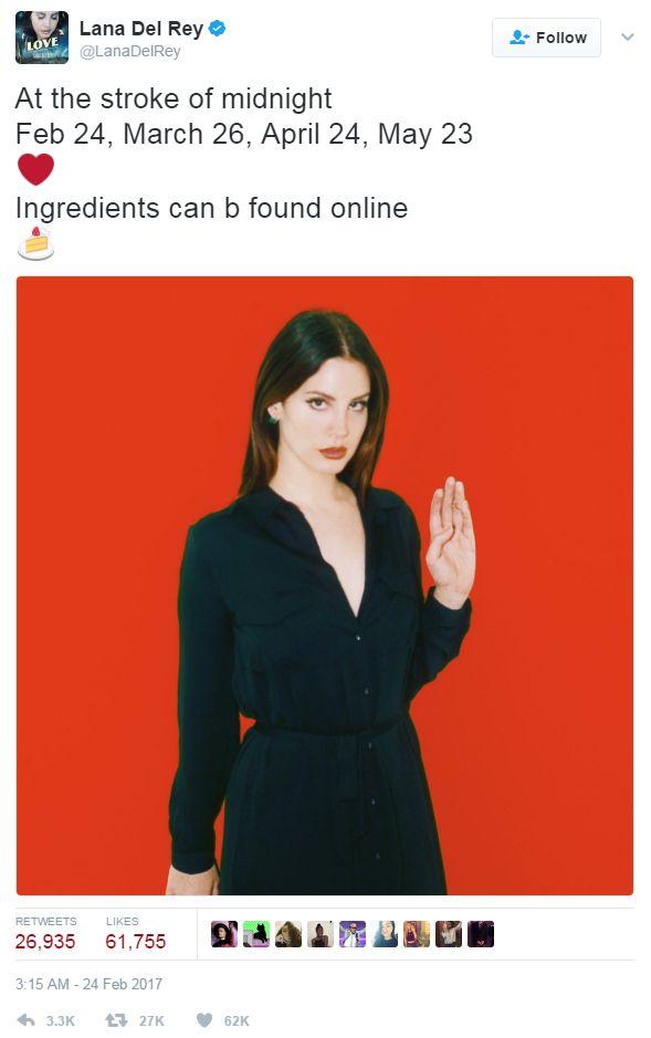 Screengrab of tweet by Lana Del Rey