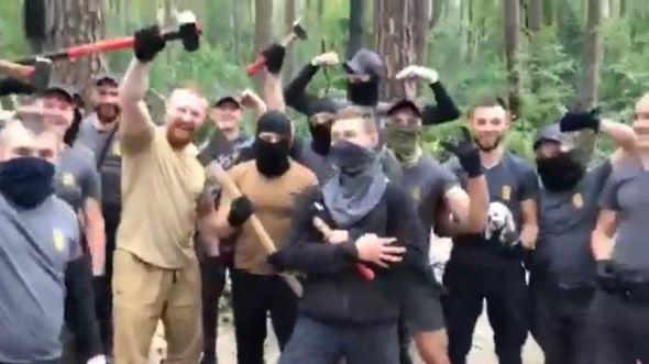 """На відео з подій у """"Голосіївському парку"""" - кілька десятків людей з сокирами та молотами, які трощать залишки стихійного ромського табору"""