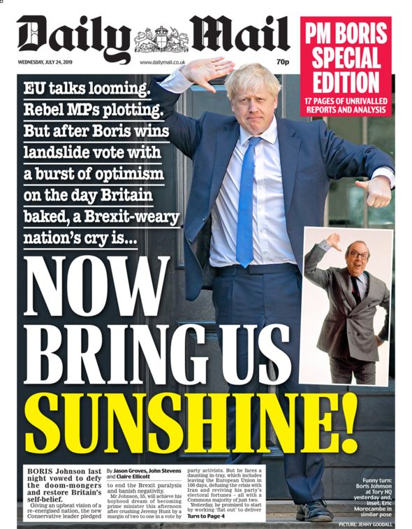 Daily Mail front page 24/07/19