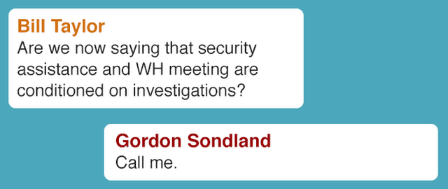 Bill Taylor Are we now saying that security assistance and WH meeting are conditioned on investigations? Gordon Sondland Call me
