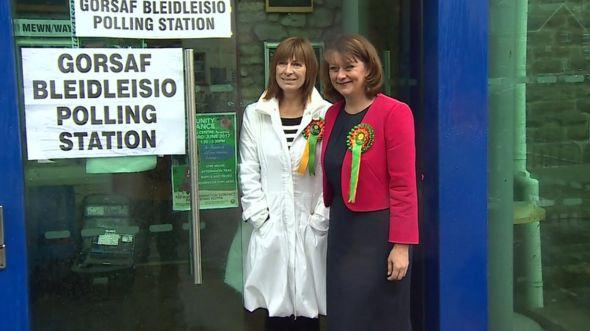 Leanne Wood (right) goes to vote in Penygraig, Tonypandy, Rhondda
