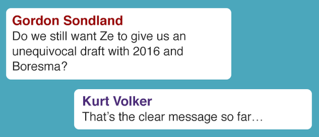 Do we still want Ze to give us an unequivocal draft with 2016 and Boresma? Kurt Volker