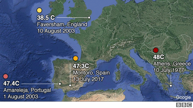 A map shows points in Britain, Spain, Portgual and Greece, along with their temperature records - 38.5 in England, 47.3 in Spain, 47.4 in Portugal, and 48 in Greece